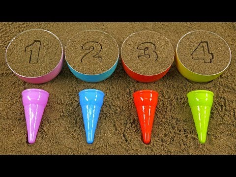FUN SAND ICE CREAM PLAY! REPEAT AFTER A FRIEND AND LEARN NUMBERS AND COLORS!