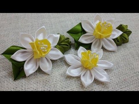 Цветы из канзаши своими руками мастер класс фото