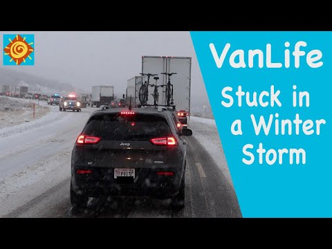 Stuck in a Winter Storm//EP 11 Seeking the Winter Sun in our Converted ProMaster Van 136
