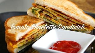 Tomato Omelette Sandwich | No Eggs | Simple Breakfast recipe