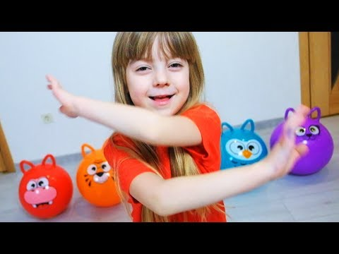 Learn Colors with Balls for Children, Toddlers and Babies  Funny Animals Faces Balls Colours
