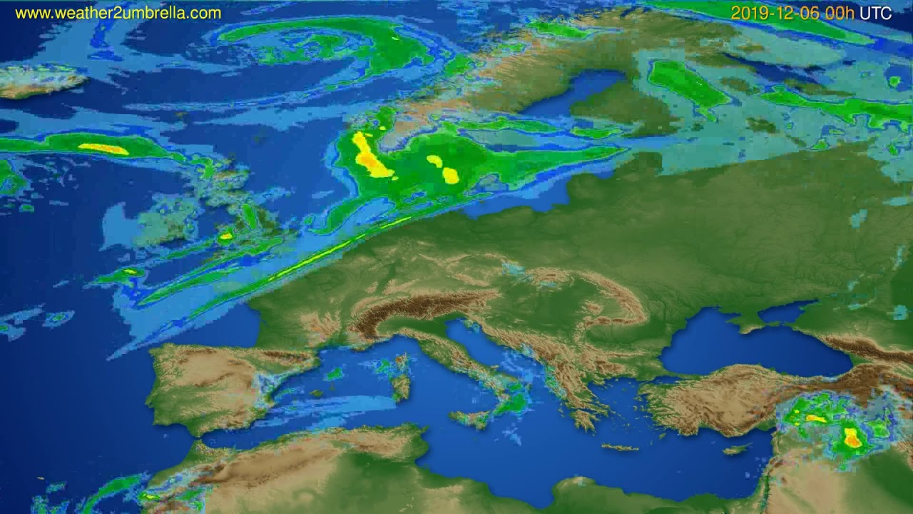 Radar forecast Europe // modelrun: 12h UTC 2019-12-05