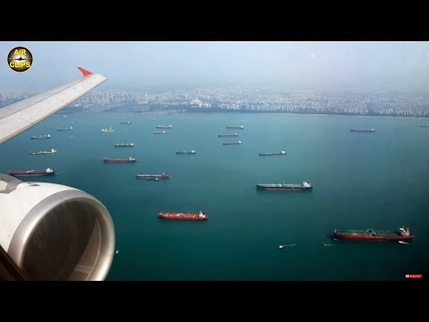 MAGNIFICENT Singapore Landing: Thai Air Asia A320, AMAZING Shoreline & Downtown views! [AirClips]