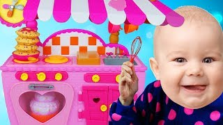 Funny Baby Pretend Cooking With Cute Kitchen