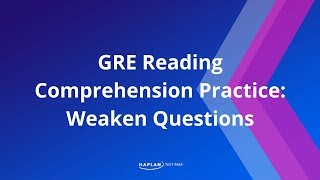 GRE  Reading Comprehension Practice: Weaken Questions | Kaplan Test Prep