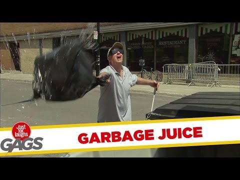 Garbage Juice Sprayed on People Prank - Youtube