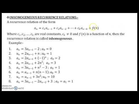 Recurrence Relations Part 10 Inhomogeneous Recurrence relations and Procedure v