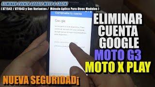 """Detailed Explanation to Remove the Google Account of a Moto G4, Moto G3, Moto G2, Moto E, XT 1601, XT1042, XT1043, XT1527 with security 1st of July 2016 / Explicación detallada para Eliminar la Cuenta Google de los Motorola G4 y G3, Moto X Play, XT1542 / XT1543 / XT1601 / XT1527 con seguridad 1 de Julio 2016.================================================================================Puedes apoyar el canal en Patreon: https://www.patreon.com/juanandresm  Gracias por tu apoyo y motivación.================================================================================Requisitos: - Este método necesita una conexion a Internet Wifi.- Tener la bateria cargada al 100%. - No Requiere de un PC. No requiere Sim Card.- El método es 100% libre y trabaja sin OTG,- Tener a mano el cargador del celular.- El metodo trabaja hasta el parche de seguridad del 1 de Julio de 2016 y puede funcionar en otro modelos de motorola.https://goo.gl/YBgrZA (Dirección de descargas)El método ha sido probado en los siguientes modelos :Moto G XT1542, Moto G XT1543, Moto X Play, Moto G2, Moto G3.================================================================================APORTES DE LOS USUARIOS:[MegaRiot95]Funcionó perfecto! Mi modelo era el Moto G3 XT1542 y quedó genial (Seguridad de Octubre, 2016)Muchas gracias... :) PD: Si no les aparece la opción """"Google"""" - minuto 2:47 - simplemente vayan a """"Aplicaciones"""",después a  """"Aplicación de Google..."""", Notificaciones y sigan con el resto. Saludos! [ MegaRiot95 ]**********************************************PREGUNTA:[emanuel cordoba]Cuando pongo chrome me dice necesita actualizar chrome y me manda a la cuenta y si le pongo que no me abre el navegador pero cuando descargo no me lo descarga[emanuel cordoba]SOLUCION:[Ciber Hanabi]Que tal amigo yo tengo parche del 1 de febrero de 2017 y me ocurria lo mismo que a ti no me descargaba el archivo ni nada, lo que hice fue poner en el buscador youtube, entrar a la aplicación y buscar este mismo video y descarga"""