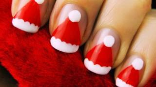 Easy Santa Hat Nail Art - YouTube