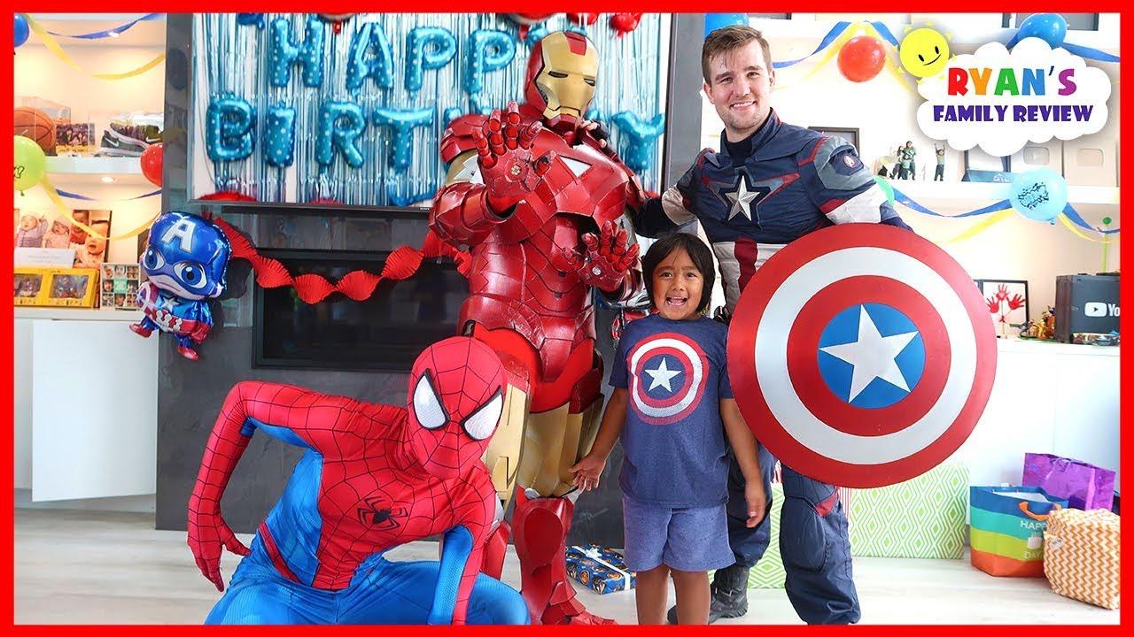 Ryan's SuperHero Birthday Training with Marvel Avengers!!!! - YouTube