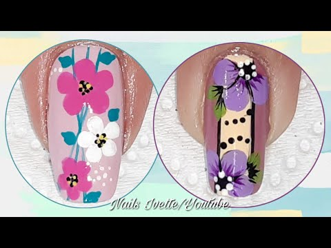 Diseños de uñas - Diseños para uñas fácil de hacer/Uñas sencillas de hacer/uñas paso a paso/nail art flowers