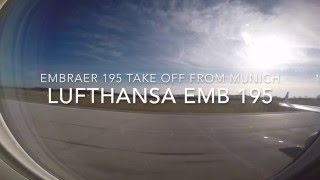 Lufthansa Embraer 195 take off from Munich MUC filmed with a GOpro