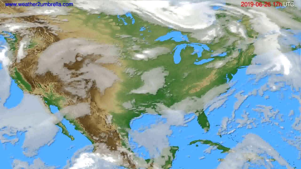 Cloud forecast USA & Canada // modelrun: 00h UTC 2019-06-25