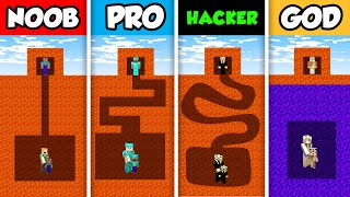 NOOB vs PRO vs HACKER vs GOD : FAMILY LAVA MAZE CHALLENGE in Minecraft! (Animation)