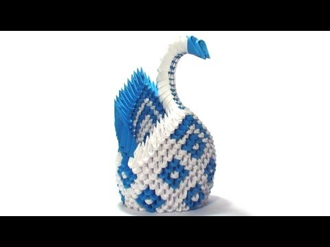 3D origami diamond pattern swan tutorial