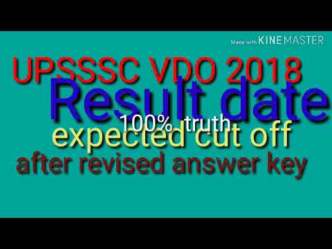 Upsssc vdo result date and expected cut off after revised answer key 2019