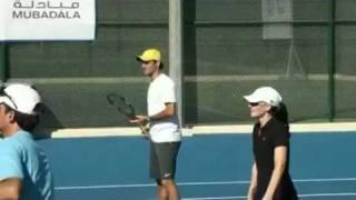 Roger Federer did a kids clinic in Abu Dhabi 2010/12/30