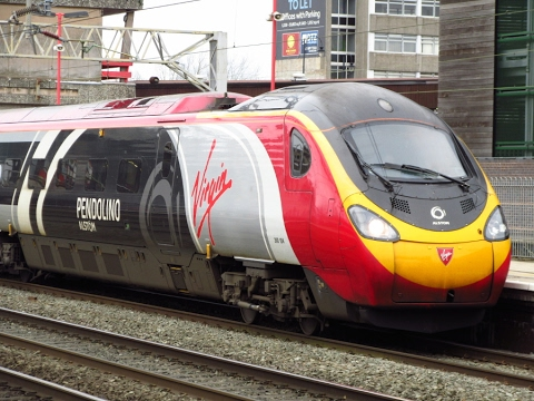 Virgin Trains class 390 with special livery 'Alstom Pendolino' at Stafford