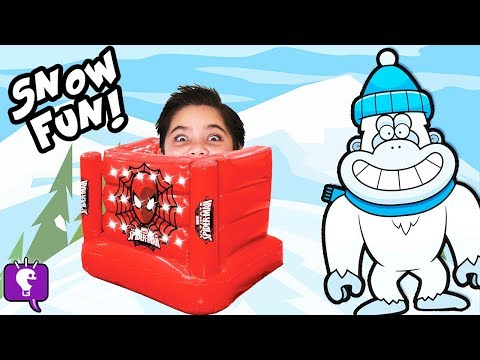 Biggest SNOW MONSTER Adventure! Surprise Toy HUNT + Slime Blob Attack Snowball Fight HobbyKidsTV (видео)
