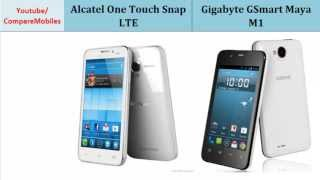 Alcatel One Touch Snap LTE versus Gigabyte GSmart Maya M1, First Look, specifications : One Touch Snap LTE to GSmart Maya M1, Top Specs Comparison: Dual-core, 1.4 GHz, 480 x 854 pixels, 4.65 inches, Dual-core, 1 GHz, 540 x 960 pixels, 4.5 inches, Bluetooth, Card slot, GPU, HSDPA, Secondary Cam, Camera etc...