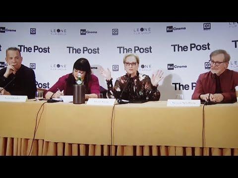 Steven Spielberg, Tom Hanks, Meryl Streep: conferenza stampa integrale di The Post