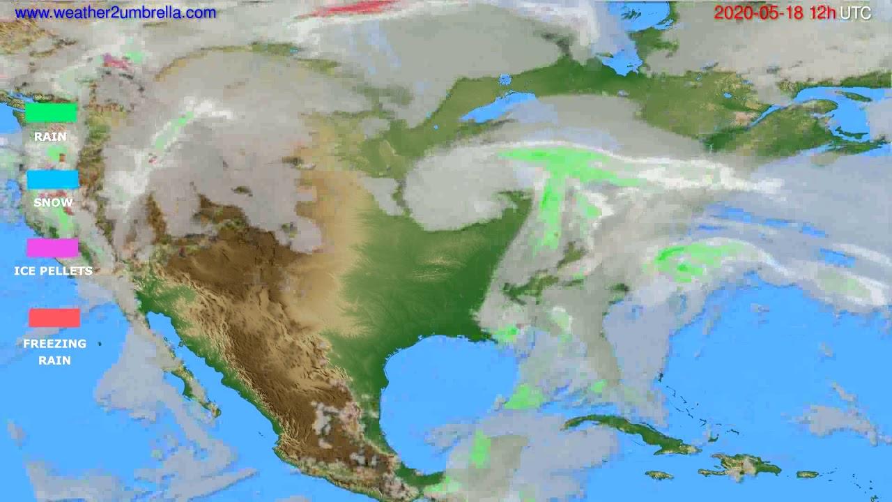 Precipitation forecast USA & Canada // modelrun: 00h UTC 2020-05-18