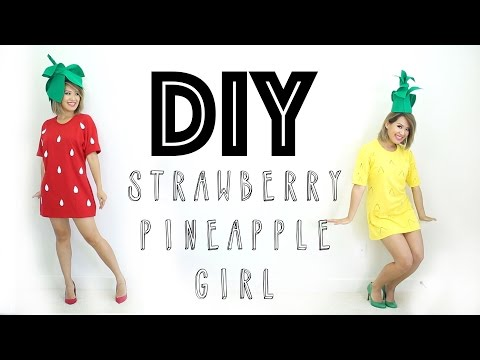 Halloween DIY Costume | Strawberry & Pineapple Girl | ANN LE