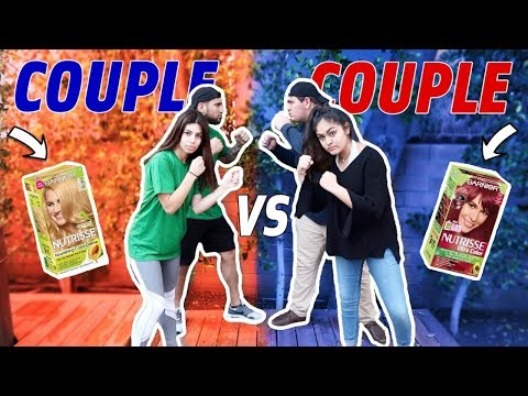 COUPLE VS COUPLE CHALLENGE (loser dyes their hair) (видео)