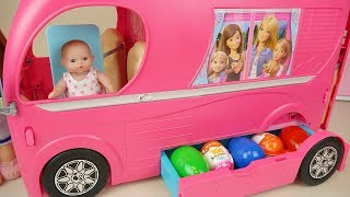 Video Baby doli and Bus surprise eggs baby doll camping car toy play MP3, 3GP, MP4, WEBM, AVI, FLV Agustus 2017