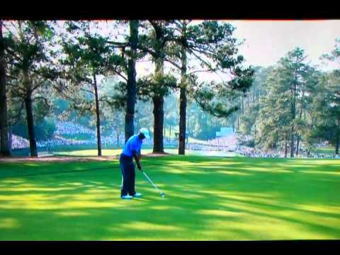 Tiger Woods unreal hook shot on hole 15 3rd round 2011 Masters.