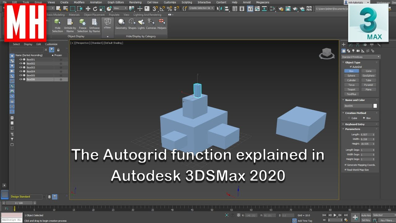 video/using autogrid function 3ds max tutorial