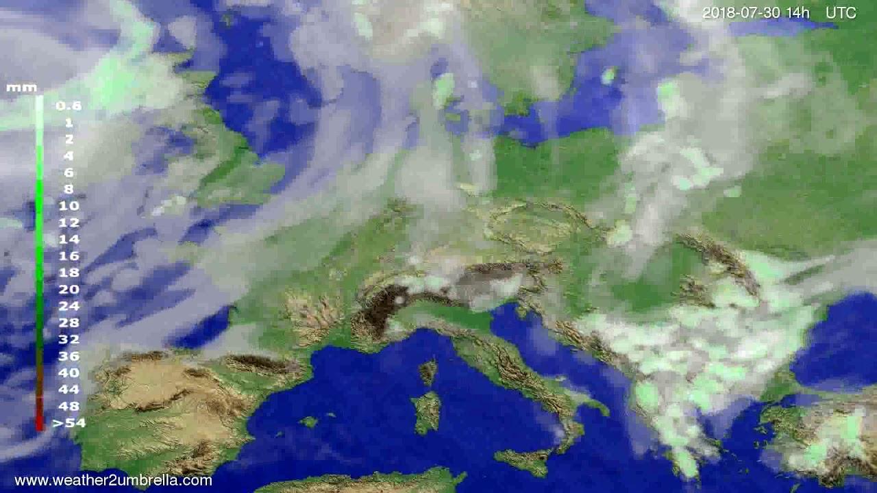 Precipitation forecast Europe 2018-07-26