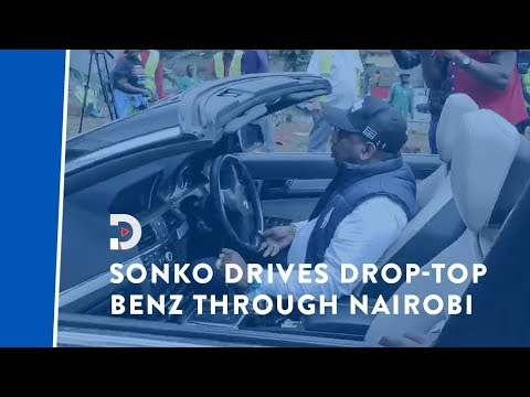 Nightmare for security personnel as Sonko drives through Nairobi in drop-top Benz