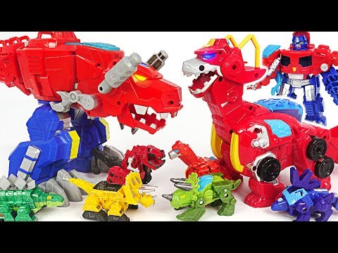 Save The Dinotrux! Transformers Rescue Bots Giant Dinosaur Optimus Primal, Heatwave! #dudupoptoy