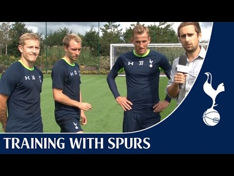 Tottenham Hotspur - Crossbar-Volley (#crolley) Challenge at the Spurs Training Centre featuring Christian, Lewis and Harry. It's a crossbar challenge with a difference!