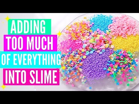 ADDING TOO MUCH INGREDIENTS INTO SLIME + GIVEAWAY! Adding Too Much Of Everything Into SLIME! (видео)