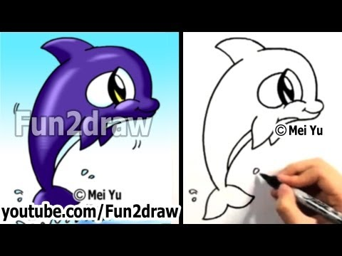 How to Draw a Cartoon Orca - How to Draw Cute Animals Easy Things - Fun2draw Art lessons