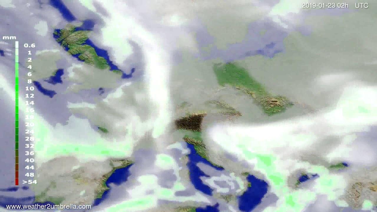 Precipitation forecast Europe 2019-01-19