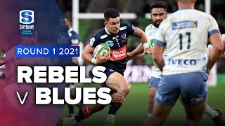 Rebels v Blues Rd.1 2021 Super rugby Trans Tasman video highlights