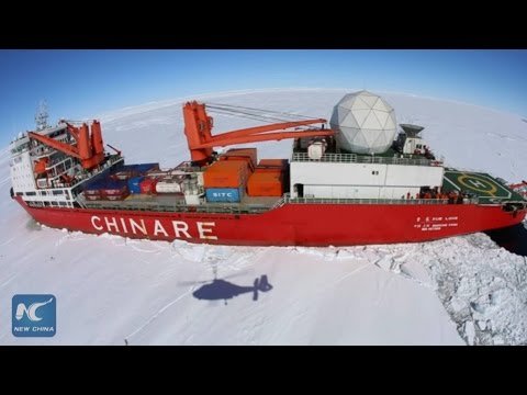 Aerial view: China's icebreaker stuck in Antarctic ice zone