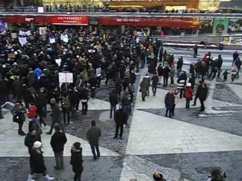 Swedish Pirate Party - Swedish Pirate Party demonstration against ACTA, at Sergels Torg in Stockholm, Sweden 2012-02-04, part 2.