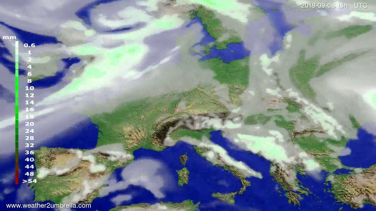 Precipitation forecast Europe 2018-09-05