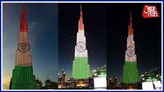 he world's tallest building, Burj Khalifa, lit up on Wednesday night in tricolours – saffron, white and green – on the eve of India's 68th Republic Day. Foll...