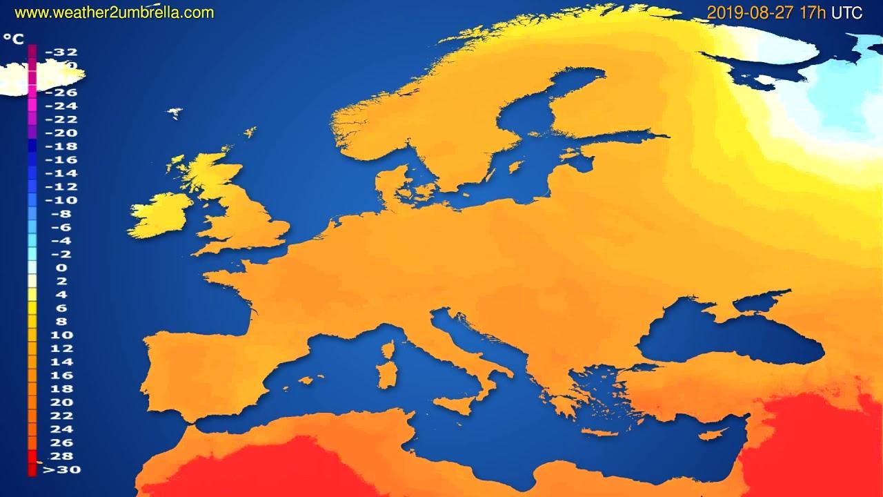 Temperature forecast Europe // modelrun: 00h UTC 2019-08-26