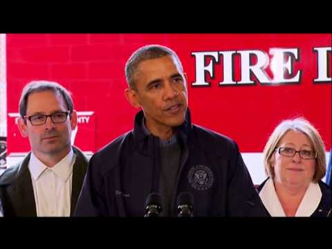 long - President Barack Obama offers encouraging words to Oso residents one month after the tiny Washington town was hit by a mudslide. Three dozen people perished. (April 22)