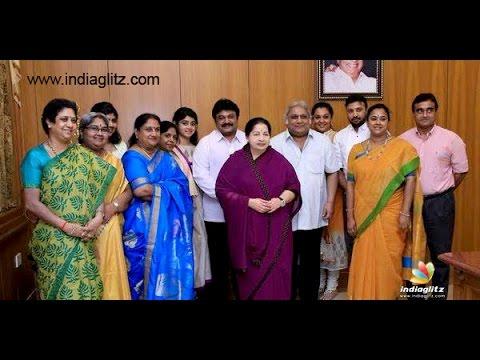 Prabhu  Ramkumar and family meet Chief Minister Jayalalithaa | Sivaji Ganesan Monument