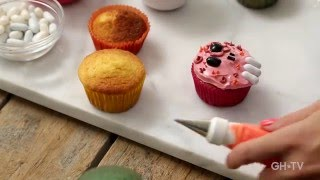 "In this easy cake decorating class, you'll learn how to master 5 BOO-tiful cupcake designs with baking expert Erin Phraner of GoodHousekeeping.TV! You'll learn the same techniques the pros use, like rolling fondant and creating sugar art, while decorating this clever collection of ""trick or treat"" treats! Emoji ghosts, sugar skulls, flying bats...let's get started!"