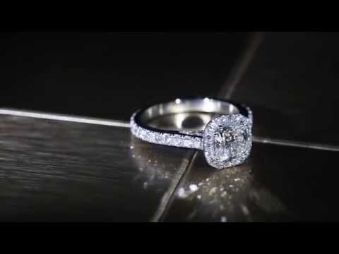 Solitaire Cushion Halo Style Single Row Engagement Ring