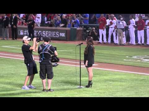 Demi Lovato Sings The National Anthem 2011 World Series Game 5 At Rangers Ballpark In Arlington