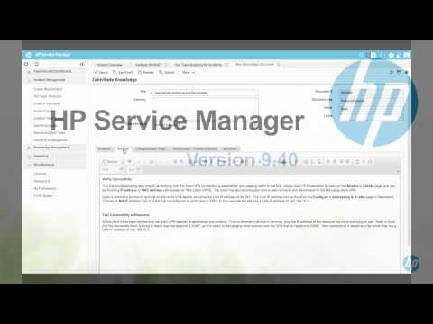 HP Service Manager 9.40 – Section 4 – Knowledge Management